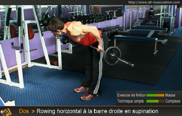 Fin de l'exercice : Rowing horizontal barre droite supination