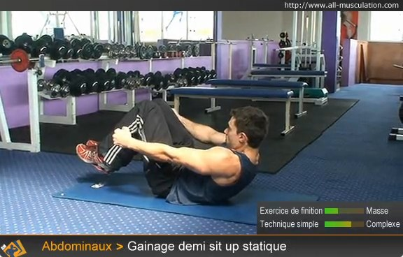 Début de l'exercice : Gainage demi sit-up statique