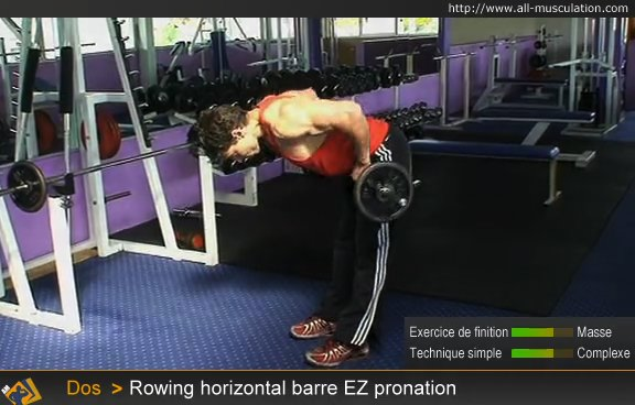 Fin de l'exercice : rowing horizontal barre EZ en pronation