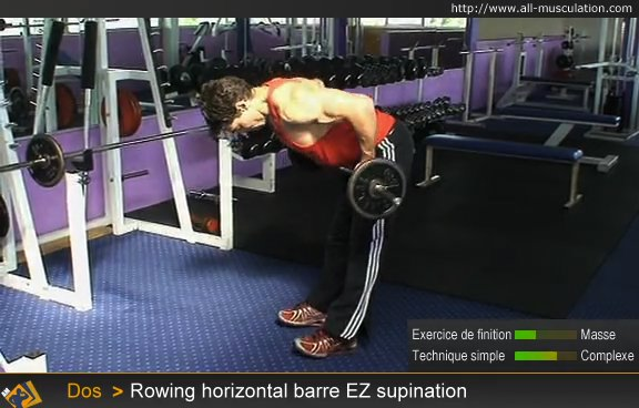 Fin de l'exercice : rowing horizontal barre EZ en supination