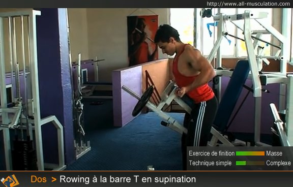 Fin de l'exercice : rowing T-barre supination