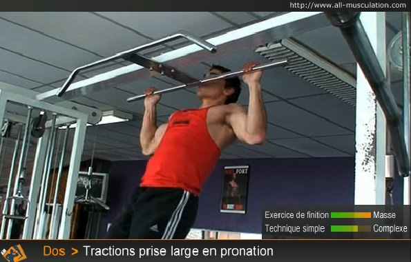Fin de l'exercice : Tractions poitrine prise large