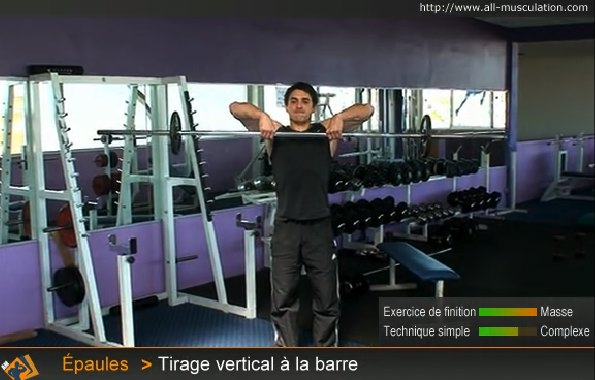 Fin de l'exercice : Rowing vertical barre